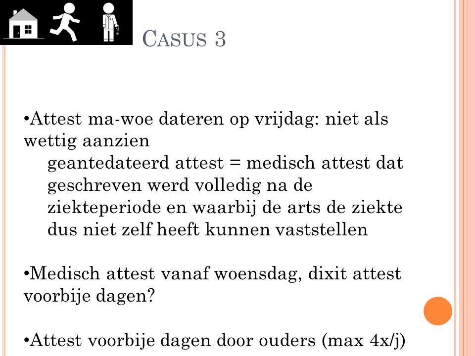 C ASUS 3 Attest ma-woe dateren op vrijdag: niet als wettig aanzien geantedateerd attest = medisch attest dat geschreven werd volledig na de ziekteperi