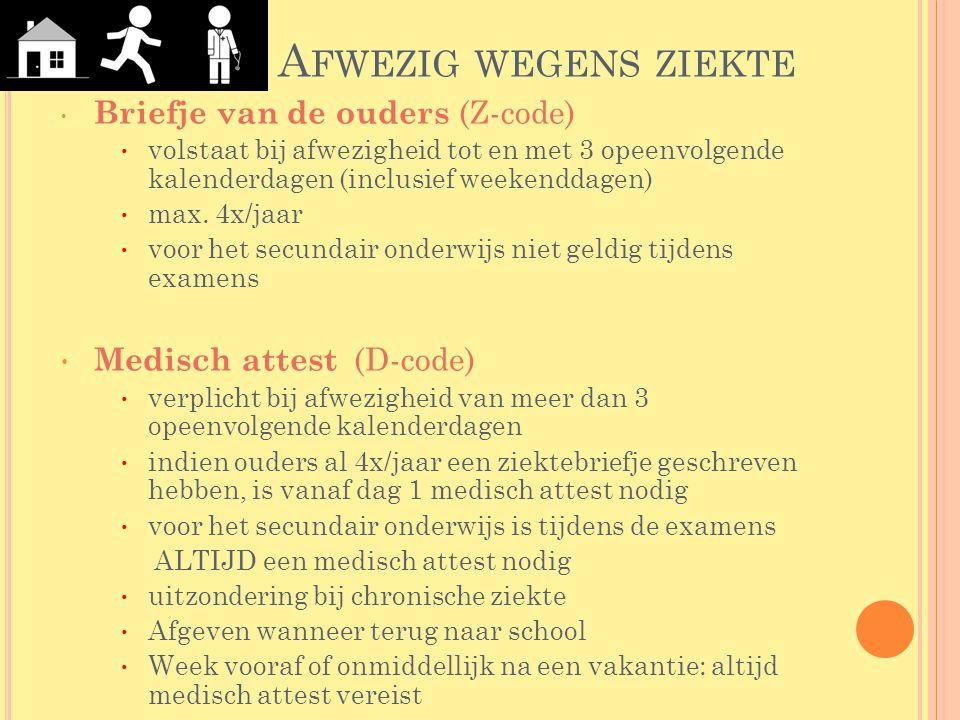 A FWEZIG WEGENS ZIEKTE Briefje van de ouders (Z-code) volstaat bij afwezigheid tot en met 3 opeenvolgende kalenderdagen (inclusief weekenddagen) max.