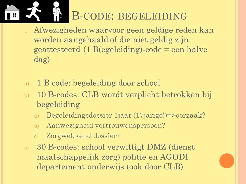 B- CODE : BEGELEIDING o Afwezigheden waarvoor geen geldige reden kan worden aangehaald of die niet geldig zijn geattesteerd (1 B(egeleiding)-code = ee