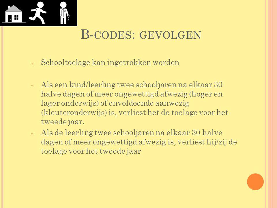 B- CODES : GEVOLGEN o Als een kind/leerling twee schooljaren na elkaar 30 halve dagen of meer ongewettigd afwezig (hoger en lager onderwijs) of onvold
