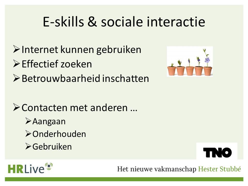 E-skills & sociale interactie  Internet kunnen gebruiken  Effectief zoeken  Betrouwbaarheid inschatten  Contacten met anderen …  Aangaan  Onderh