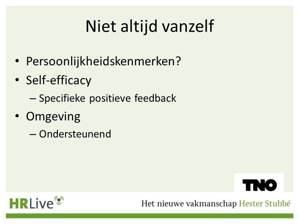 Niet altijd vanzelf Persoonlijkheidskenmerken? Self-efficacy – Specifieke positieve feedback Omgeving – Ondersteunend