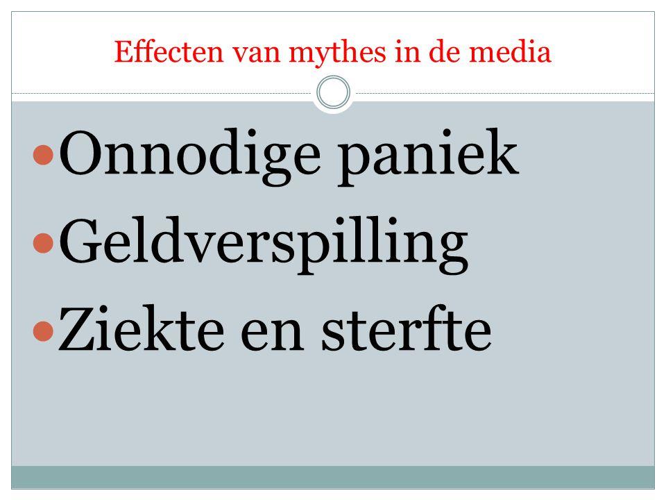 Effecten van mythes in de media Onnodige paniek Geldverspilling Ziekte en sterfte