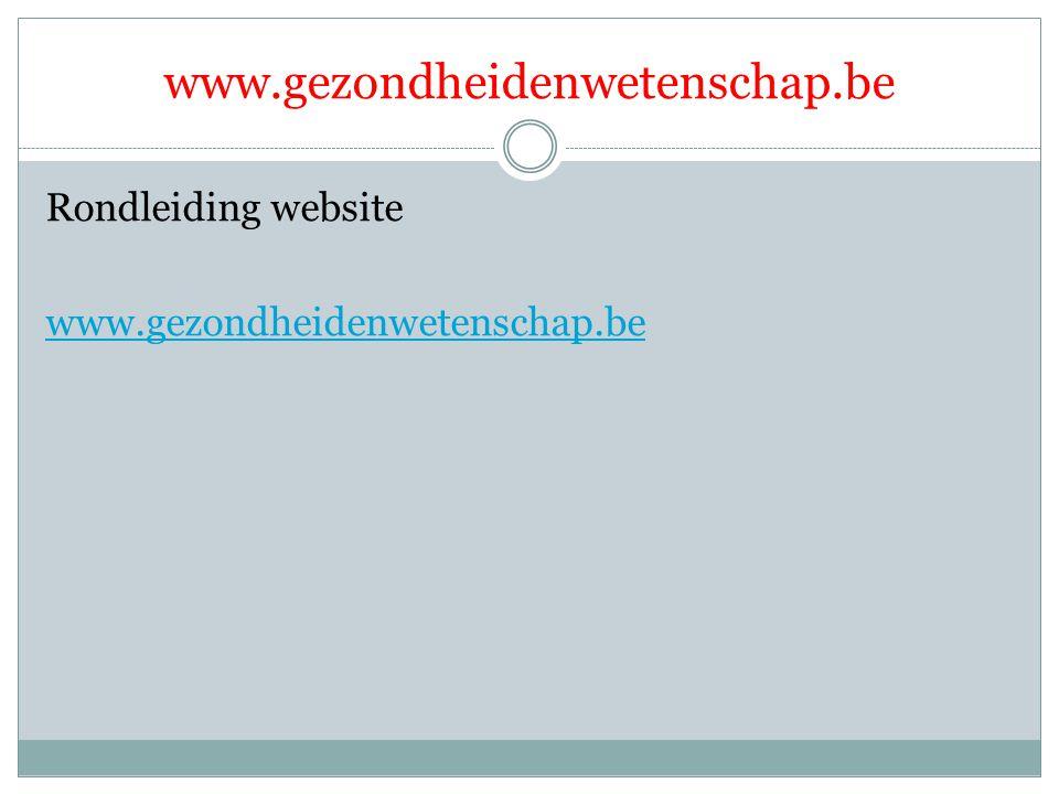 Rondleiding website www.gezondheidenwetenschap.be