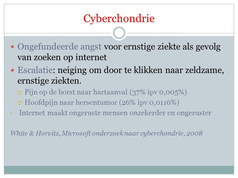 Cyberchondrie Ongefundeerde angst voor ernstige ziekte als gevolg van zoeken op internet Escalatie: neiging om door te klikken naar zeldzame, ernstige ziekten.