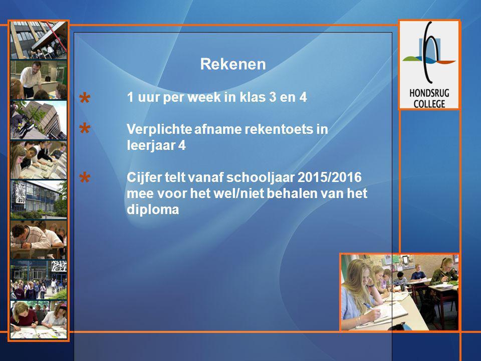 Rekenen 1 uur per week in klas 3 en 4 Verplichte afname rekentoets in leerjaar 4 Cijfer telt vanaf schooljaar 2015/2016 mee voor het wel/niet behalen