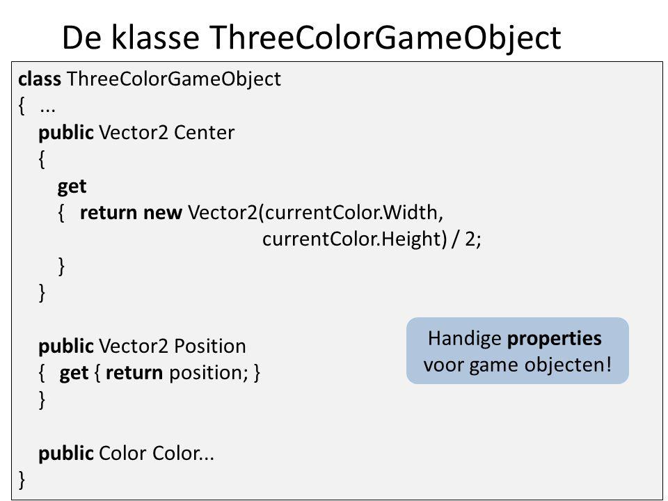 De klasse ThreeColorGameObject class ThreeColorGameObject {...