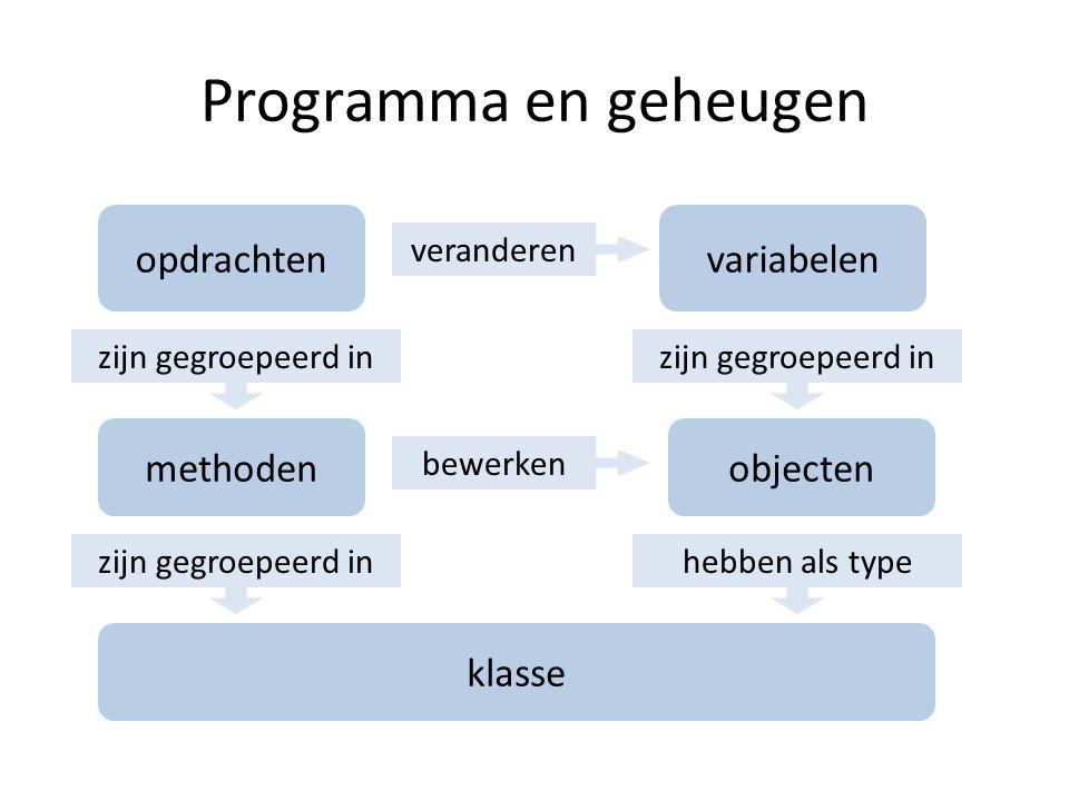 opdrachten methoden variabelen objecten klasse zijn gegroepeerd in hebben als type veranderen bewerken Programma en geheugen