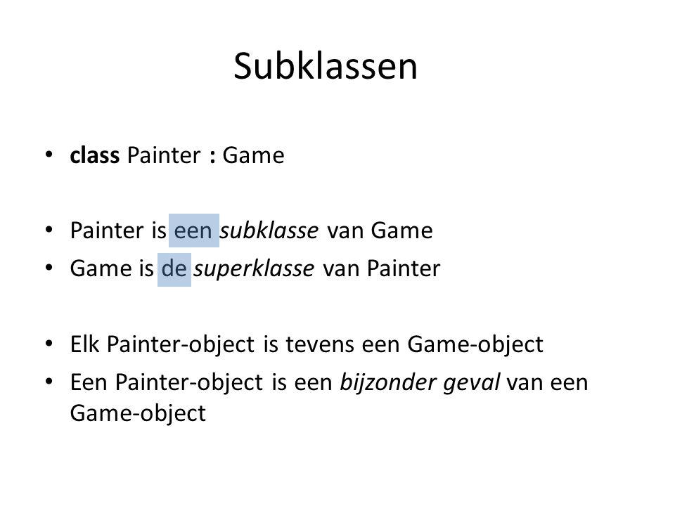 Geluidseffecten ( finishing touch ) In de Ball klasse: – Membervariabele toevoegen: – Effect laden in constructor: – Afspelen bij afschieten: protected SoundEffect ballShot; ballShot = Content.Load ( snd_shoot_paint ); if (inputHelper.MouseLeftButtonPressed() && !shooting) { shooting = true; velocity = (inputHelper.MousePosition - position) * 1.2f; ballShot.Play(); }
