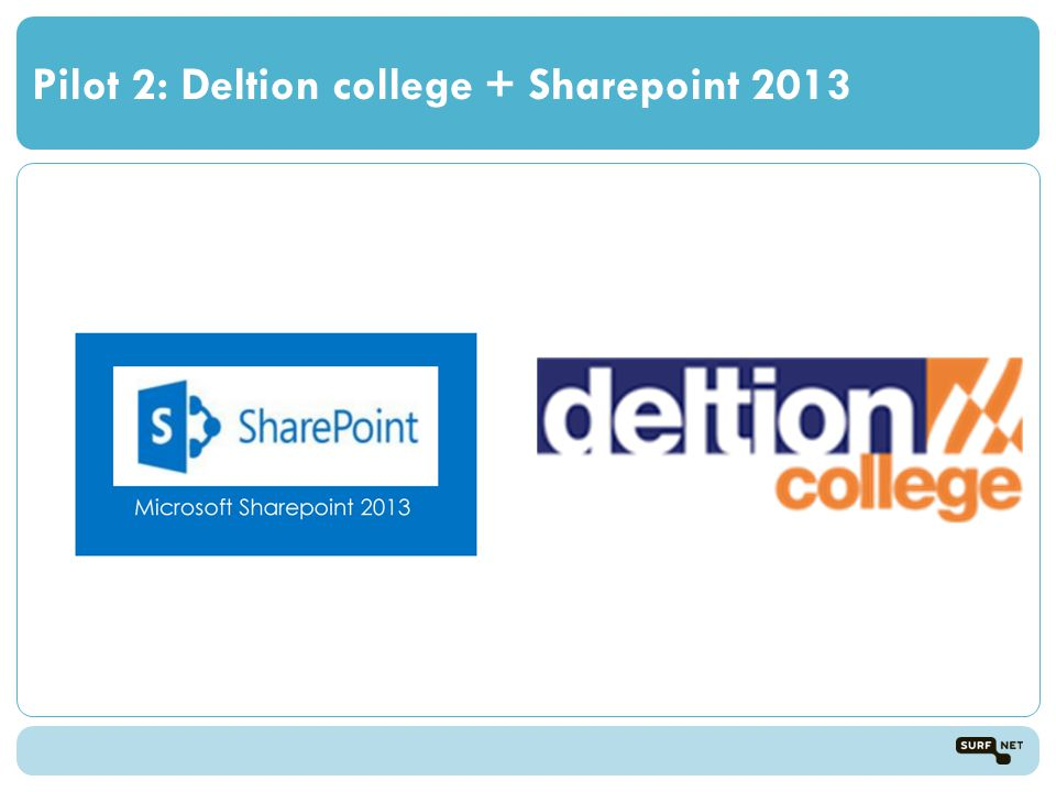 Pilot 2: Deltion college + Sharepoint 2013