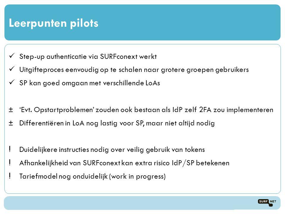 Leerpunten pilots Step-up authenticatie via SURFconext werkt Uitgifteproces eenvoudig op te schalen naar grotere groepen gebruikers SP kan goed omgaan met verschillende LoAs ±'Evt.