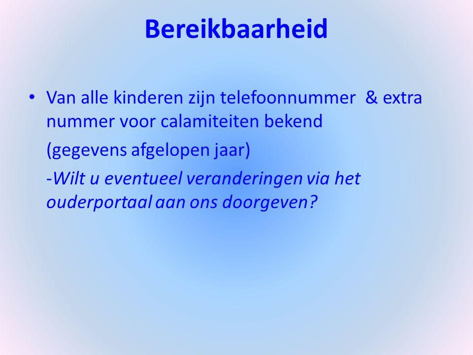 Bereikbaarheid Van alle kinderen zijn telefoonnummer & extra nummer voor calamiteiten bekend (gegevens afgelopen jaar) -Wilt u eventueel veranderingen via het ouderportaal aan ons doorgeven?