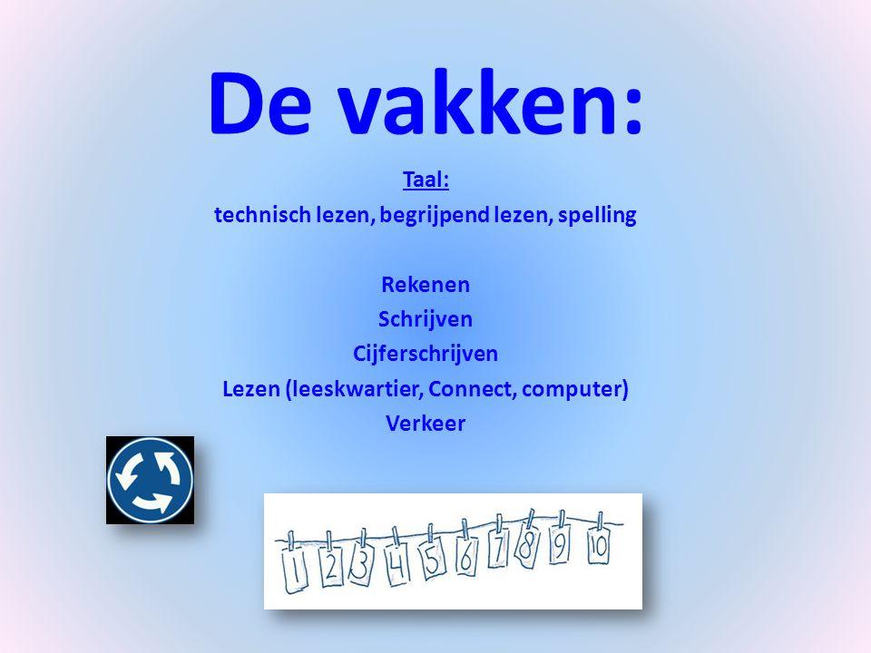 De vakken: Taal: technisch lezen, begrijpend lezen, spelling Rekenen Schrijven Cijferschrijven Lezen (leeskwartier, Connect, computer) Verkeer