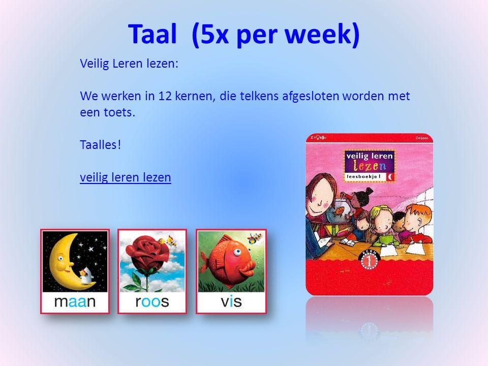 Taal (5x per week) Veilig Leren lezen: We werken in 12 kernen, die telkens afgesloten worden met een toets. Taalles! veilig leren lezen