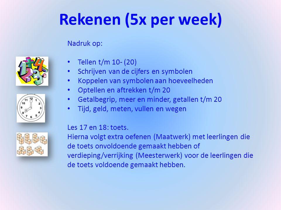 Rekenen (5x per week) Nadruk op: Tellen t/m 10- (20) Schrijven van de cijfers en symbolen Koppelen van symbolen aan hoeveelheden Optellen en aftrekken