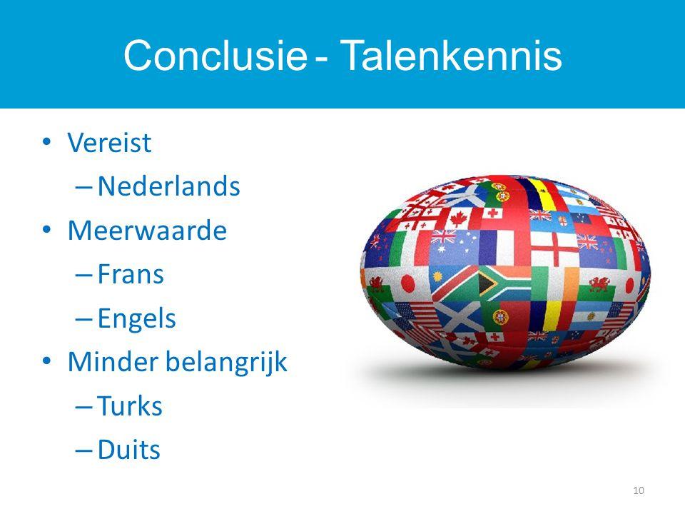 Vereist – Nederlands Meerwaarde – Frans – Engels Minder belangrijk – Turks – Duits 10 Conclusie - Talenkennis