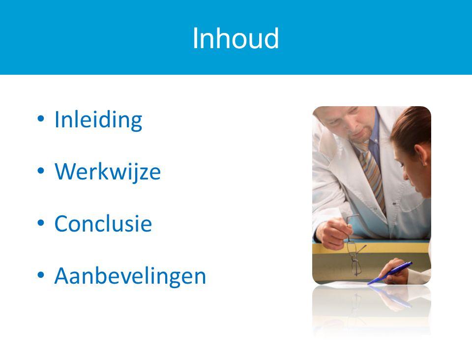 Inhoud Inleiding Werkwijze Conclusie Aanbevelingen 3