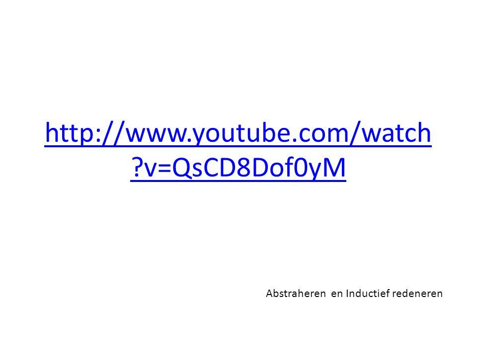 http://www.youtube.com/watch ?v=QsCD8Dof0yM Abstraheren en Inductief redeneren