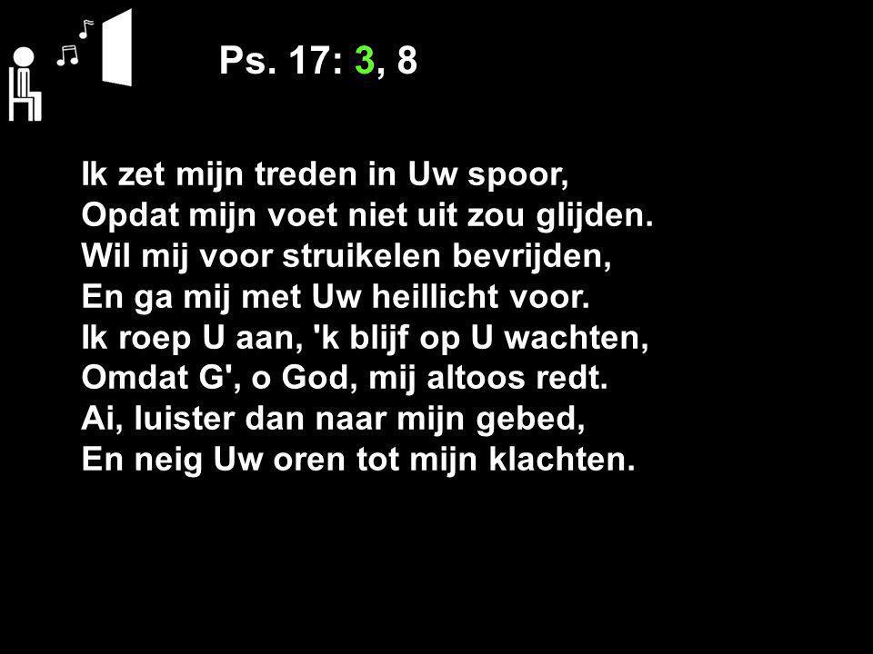 Ps. 17: 3, 8 Ik zet mijn treden in Uw spoor, Opdat mijn voet niet uit zou glijden. Wil mij voor struikelen bevrijden, En ga mij met Uw heillicht voor.