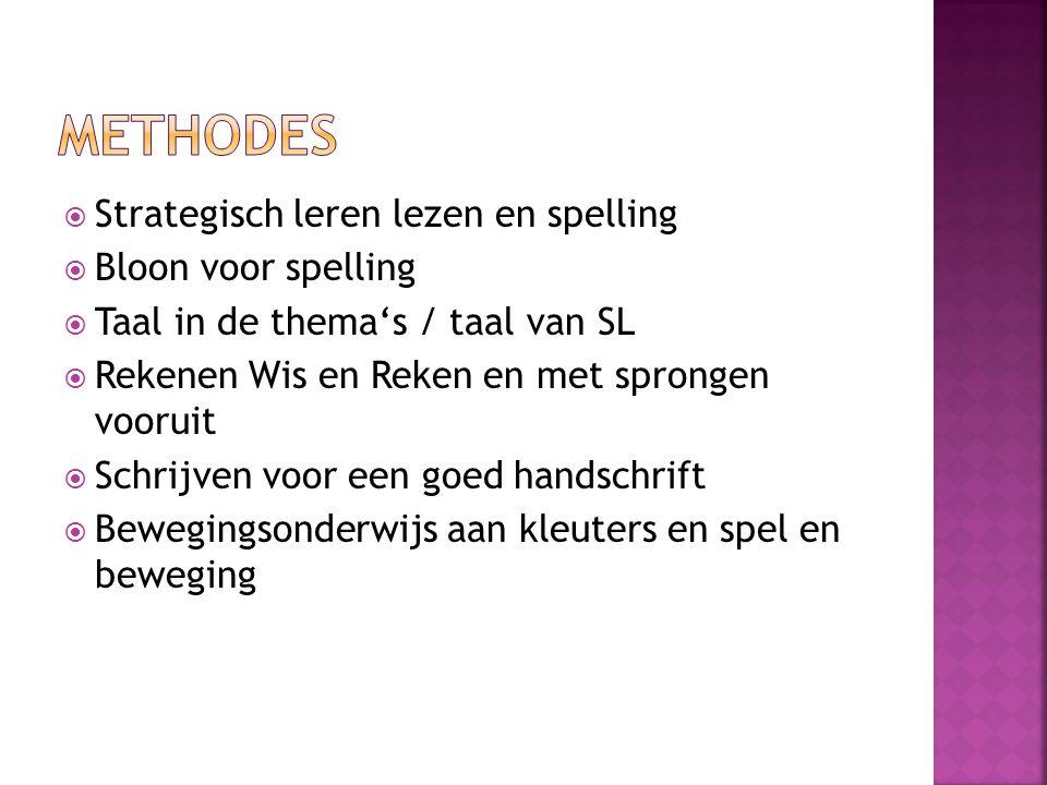  Strategisch leren lezen en spelling  Bloon voor spelling  Taal in de thema's / taal van SL  Rekenen Wis en Reken en met sprongen vooruit  Schrijven voor een goed handschrift  Bewegingsonderwijs aan kleuters en spel en beweging