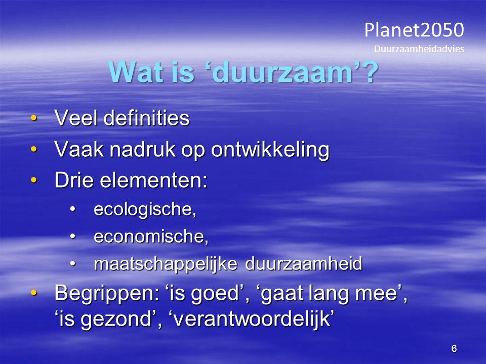 Planet2050 Duurzaamheidadvies Duurzaam.