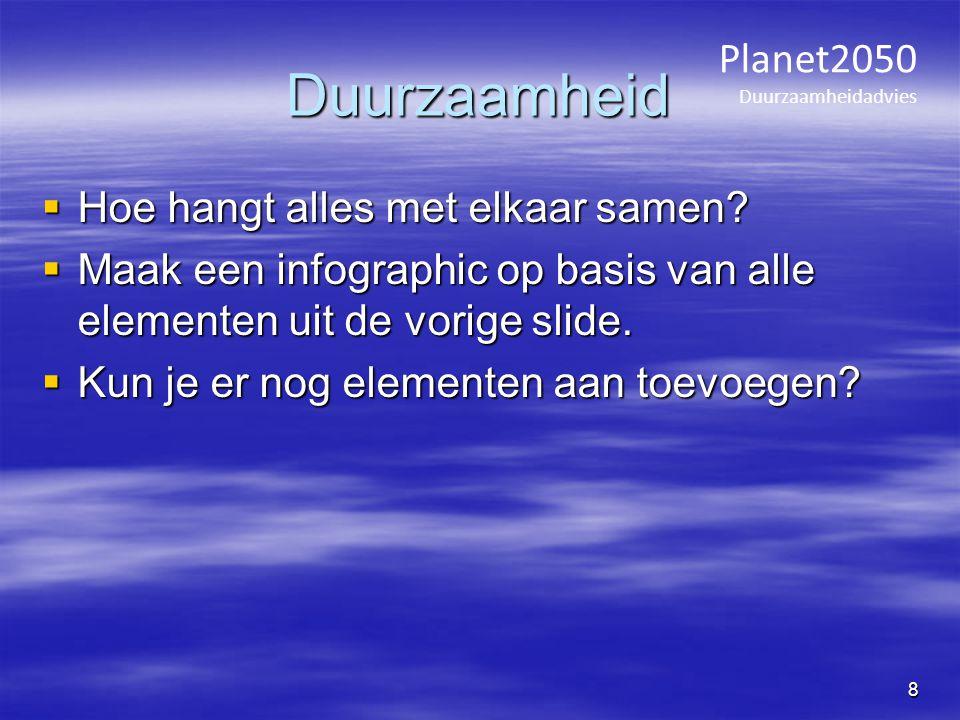 Planet2050 Duurzaamheidadvies 19 Temperature increases Increase in temperature in De Bilt since 1900: ± 1.5 o C Average global increase 1900-2000: 0.8 o C Uit: TTO Climate Change