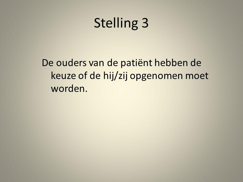 Stelling 3 De ouders van de patiënt hebben de keuze of de hij/zij opgenomen moet worden.