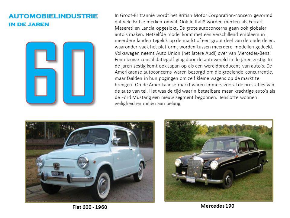 In Groot-Brittannië wordt het British Motor Corporation-concern gevormd dat vele Britse merken omvat. Ook in Italië worden merken als Ferrari, Maserat