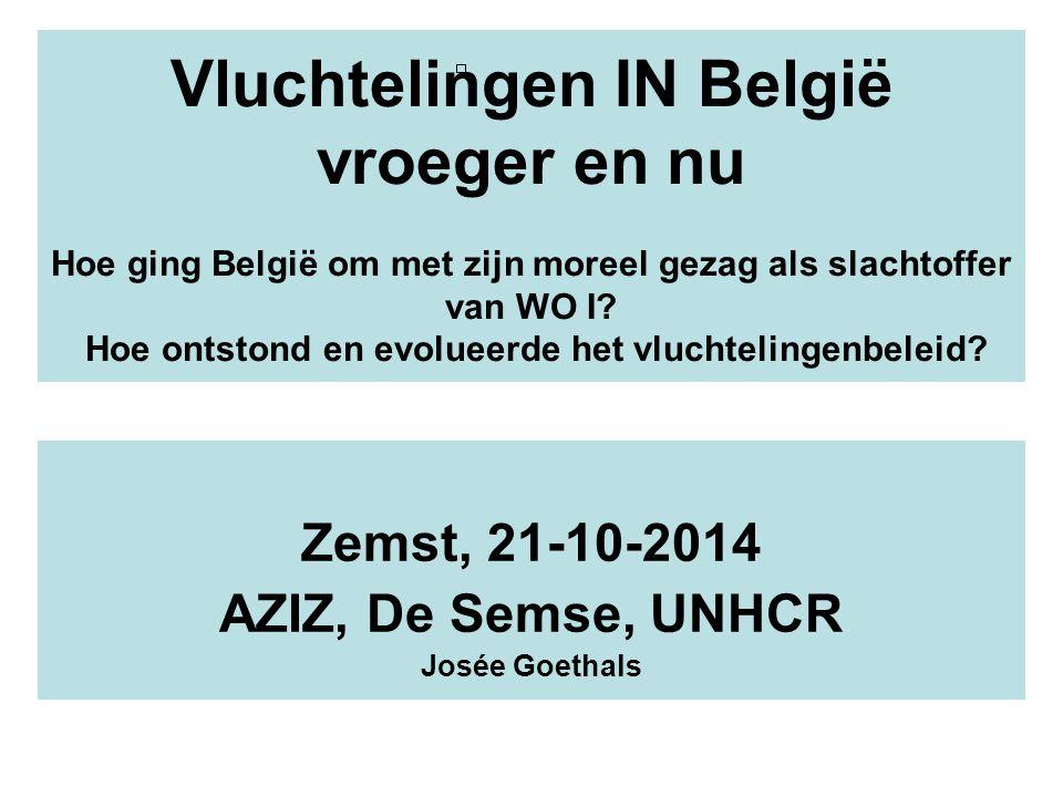 Vluchtelingen IN België vroeger en nu Hoe ging België om met zijn moreel gezag als slachtoffer van WO I? Hoe ontstond en evolueerde het vluchtelingenb
