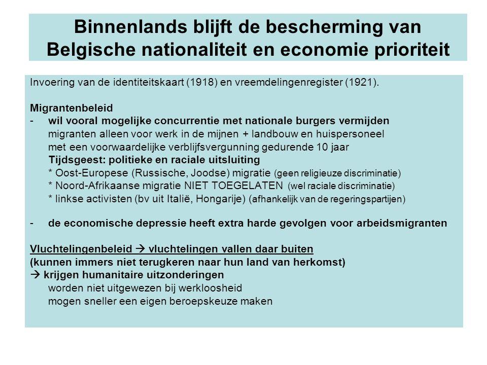 Binnenlands blijft de bescherming van Belgische nationaliteit en economie prioriteit Invoering van de identiteitskaart (1918) en vreemdelingenregister