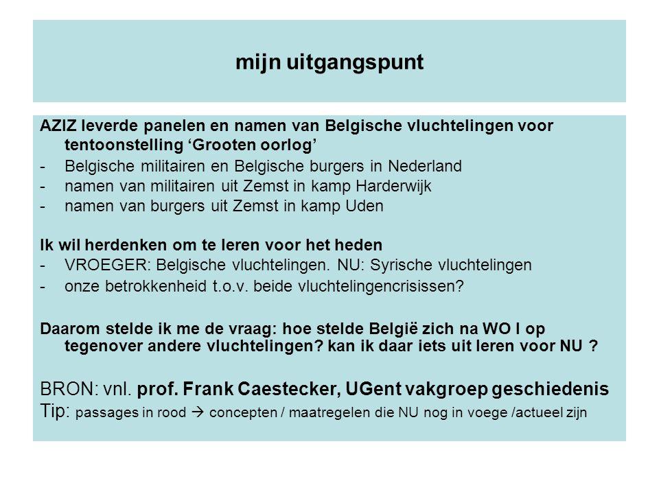 mijn uitgangspunt AZIZ leverde panelen en namen van Belgische vluchtelingen voor tentoonstelling 'Grooten oorlog' -Belgische militairen en Belgische b