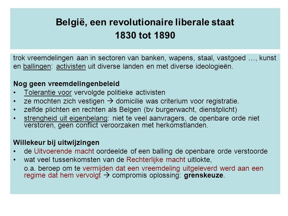 België, een revolutionaire liberale staat 1830 tot 1890 trok vreemdelingen aan in sectoren van banken, wapens, staal, vastgoed …, kunst en ballingen: