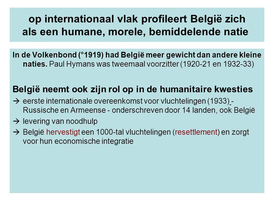 op internationaal vlak profileert België zich als een humane, morele, bemiddelende natie In de Volkenbond (°1919) had België meer gewicht dan andere k