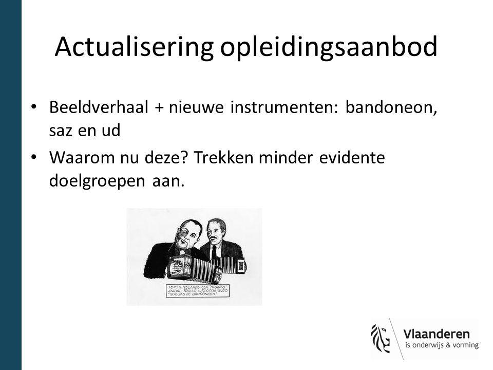 Actualisering opleidingsaanbod Beeldverhaal + nieuwe instrumenten: bandoneon, saz en ud Waarom nu deze? Trekken minder evidente doelgroepen aan.