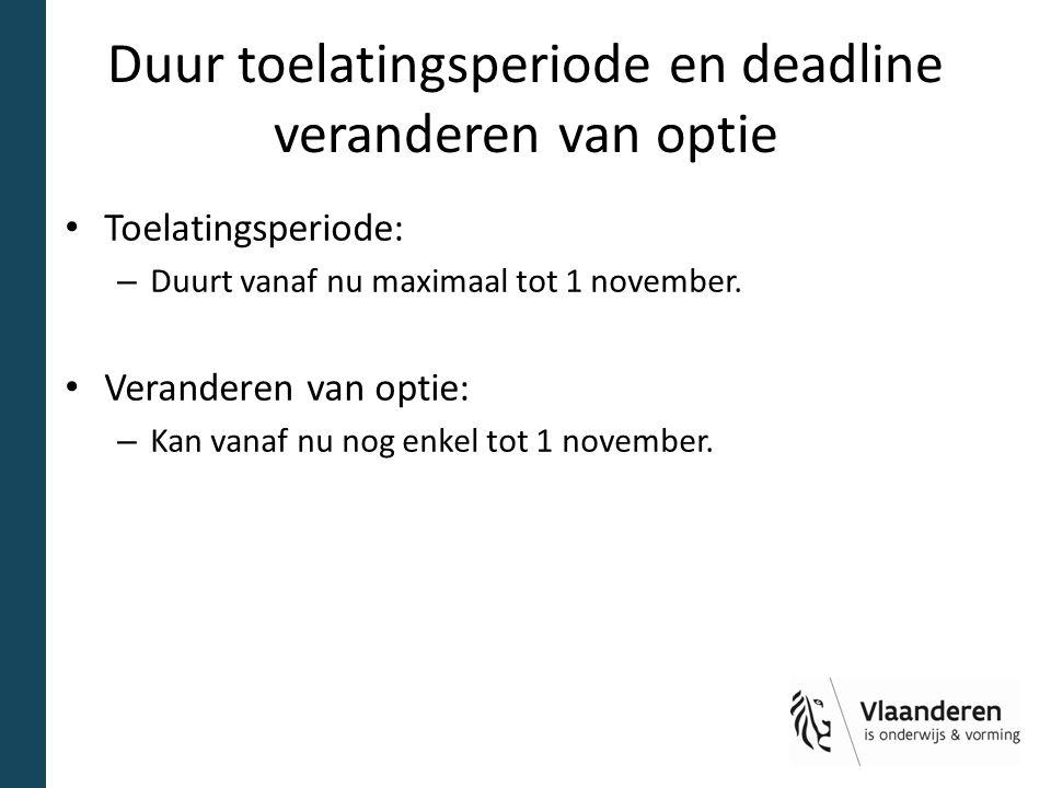 Duur toelatingsperiode en deadline veranderen van optie Toelatingsperiode: – Duurt vanaf nu maximaal tot 1 november. Veranderen van optie: – Kan vanaf