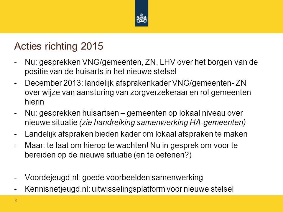 Acties richting 2015 -Nu: gesprekken VNG/gemeenten, ZN, LHV over het borgen van de positie van de huisarts in het nieuwe stelsel -December 2013: lande