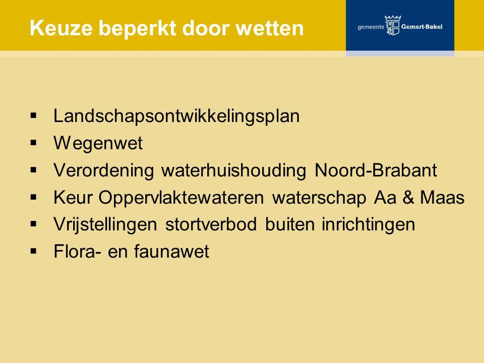 Keuze beperkt door wetten  Landschapsontwikkelingsplan  Wegenwet  Verordening waterhuishouding Noord-Brabant  Keur Oppervlaktewateren waterschap Aa & Maas  Vrijstellingen stortverbod buiten inrichtingen  Flora- en faunawet