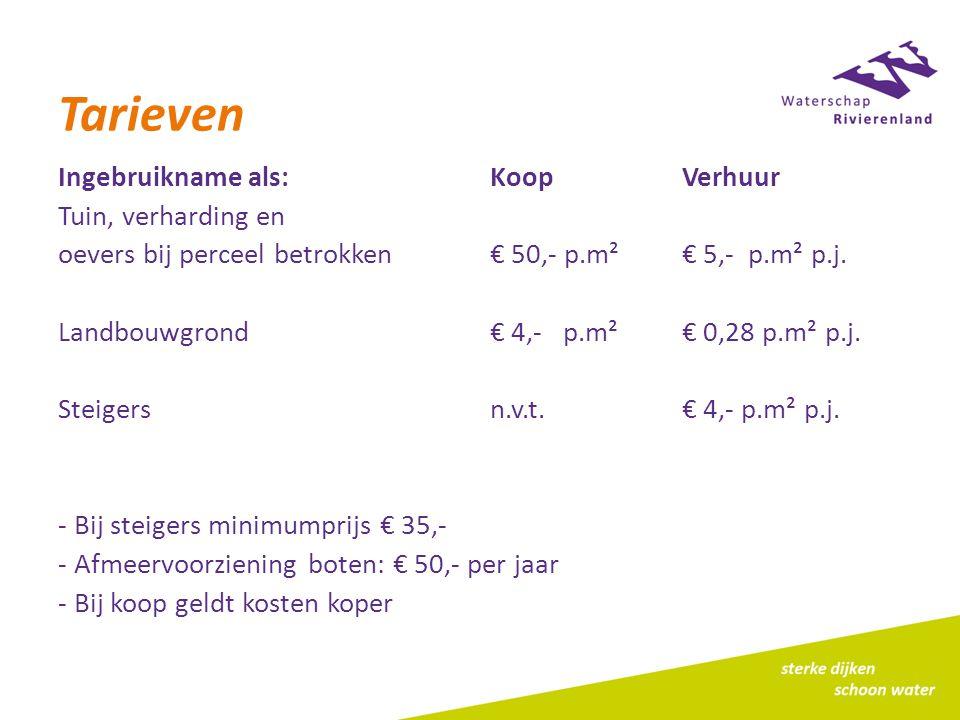 Tarieven Ingebruikname als:KoopVerhuur Tuin, verharding en oevers bij perceel betrokken€ 50,- p.m²€ 5,- p.m² p.j.