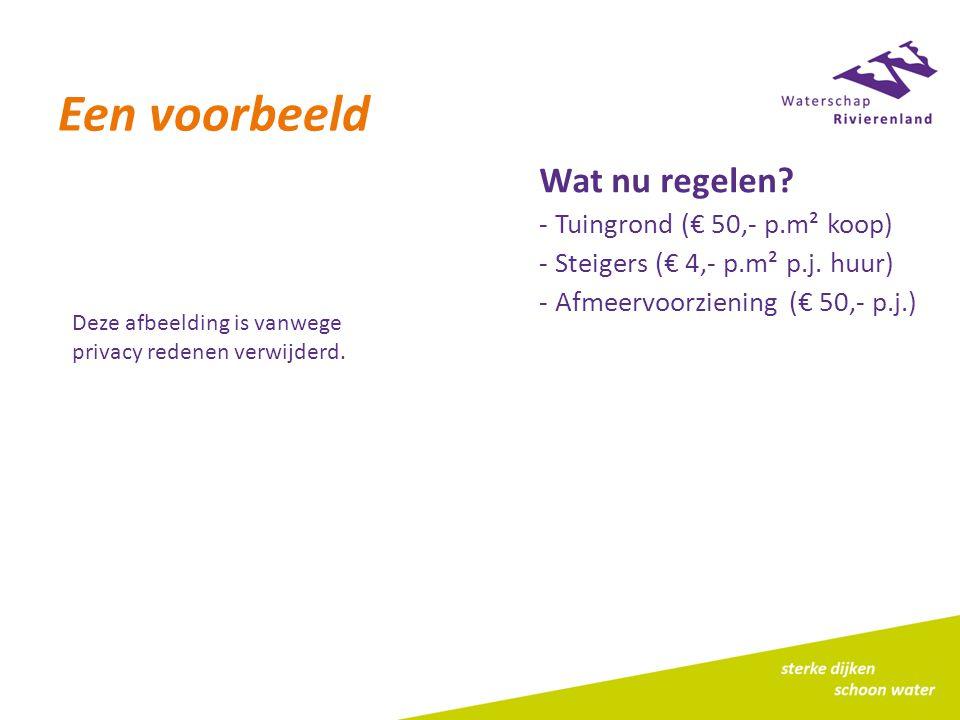 Een voorbeeld Wat nu regelen. - Tuingrond (€ 50,- p.m² koop) - Steigers (€ 4,- p.m² p.j.