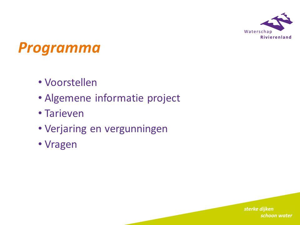 Programma Voorstellen Algemene informatie project Tarieven Verjaring en vergunningen Vragen