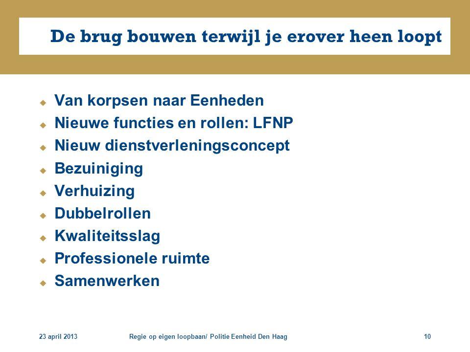 23 april 2013Regie op eigen loopbaan/ Politie Eenheid Den Haag10 De brug bouwen terwijl je erover heen loopt  Van korpsen naar Eenheden  Nieuwe func
