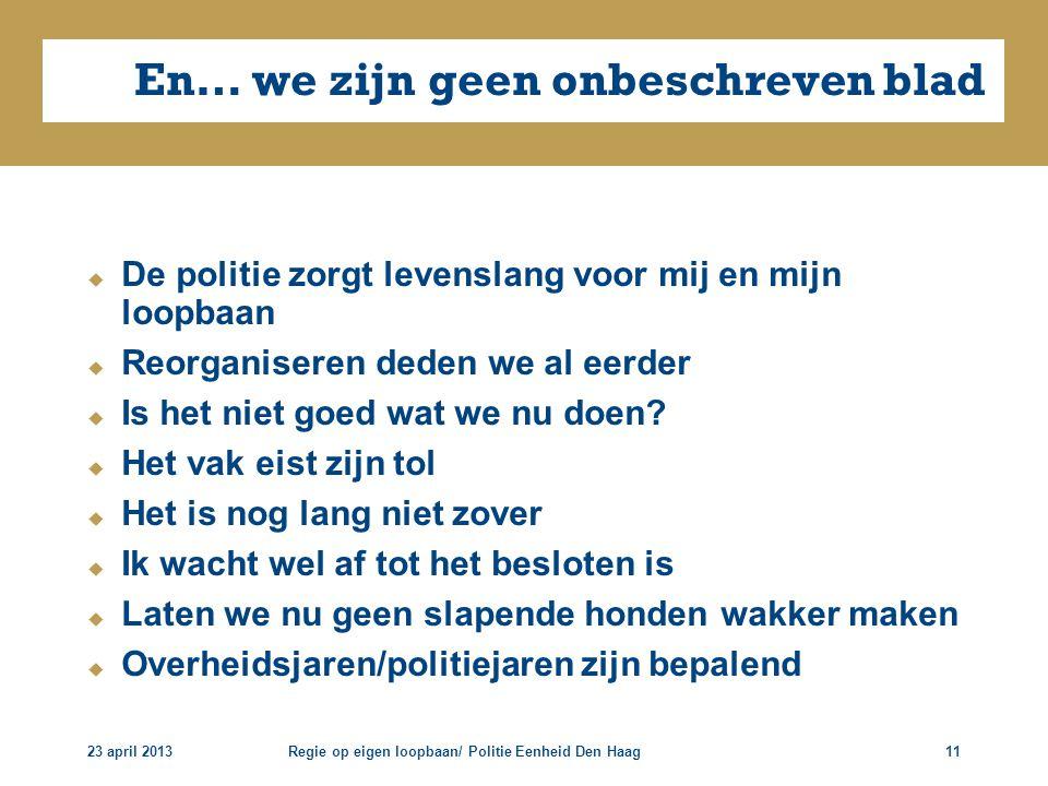 23 april 2013Regie op eigen loopbaan/ Politie Eenheid Den Haag11 En… we zijn geen onbeschreven blad  De politie zorgt levenslang voor mij en mijn loo