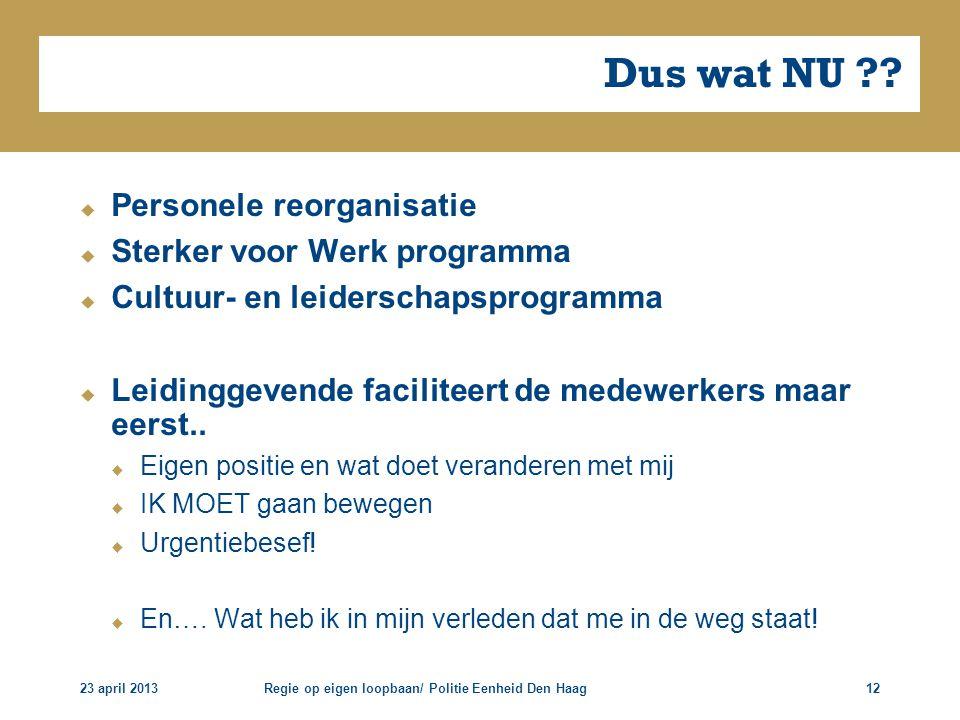 23 april 2013Regie op eigen loopbaan/ Politie Eenheid Den Haag12 Dus wat NU ??  Personele reorganisatie  Sterker voor Werk programma  Cultuur- en l