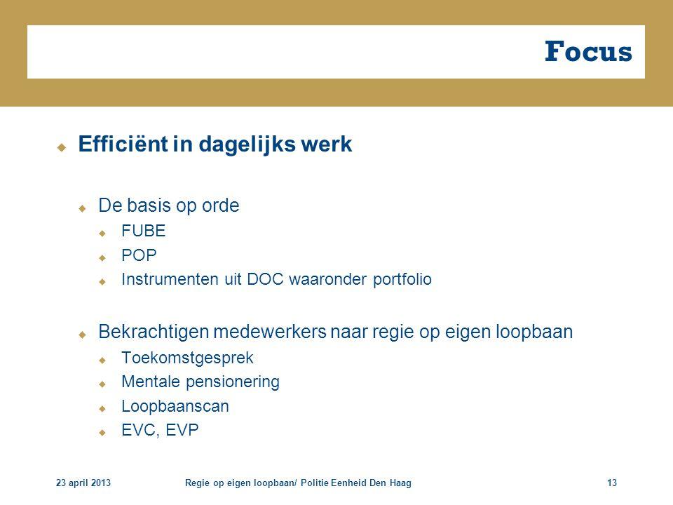 23 april 2013Regie op eigen loopbaan/ Politie Eenheid Den Haag13 Focus  Efficiënt in dagelijks werk  De basis op orde  FUBE  POP  Instrumenten ui