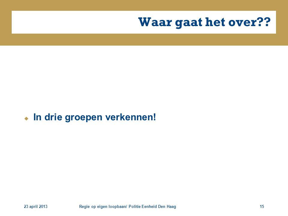 23 april 2013Regie op eigen loopbaan/ Politie Eenheid Den Haag15 Waar gaat het over??  In drie groepen verkennen!