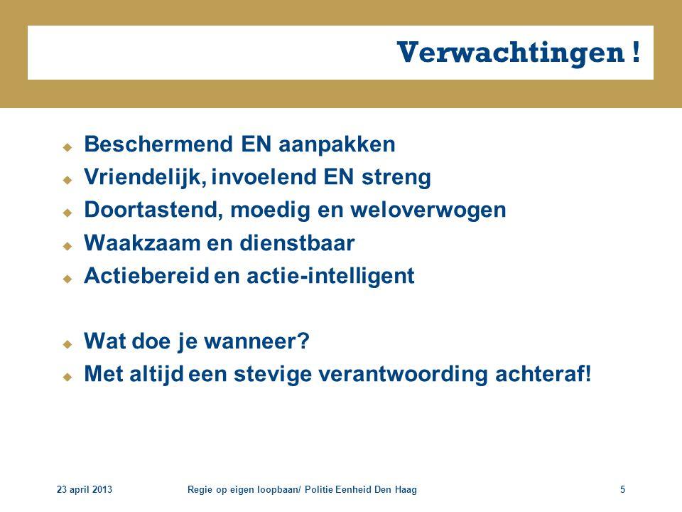 Regie op eigen loopbaan/ Politie Eenheid Den Haag5 Verwachtingen !  Beschermend EN aanpakken  Vriendelijk, invoelend EN streng  Doortastend, moedig