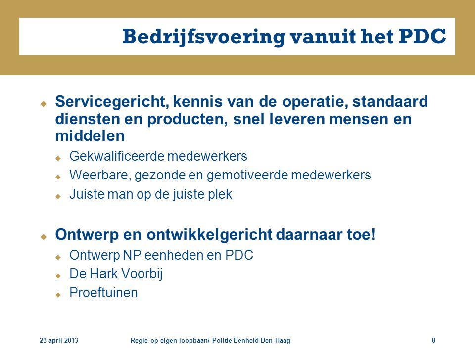 23 april 2013Regie op eigen loopbaan/ Politie Eenheid Den Haag8 Bedrijfsvoering vanuit het PDC  Servicegericht, kennis van de operatie, standaard die