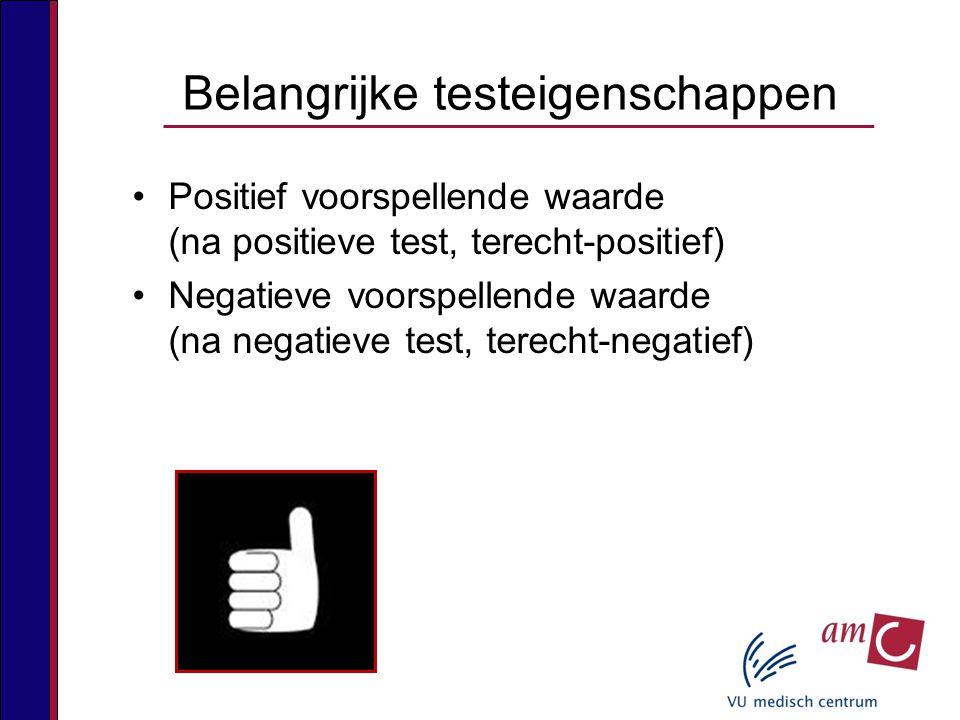 Positief voorspellende waarde (na positieve test, terecht-positief) Negatieve voorspellende waarde (na negatieve test, terecht-negatief) Belangrijke testeigenschappen