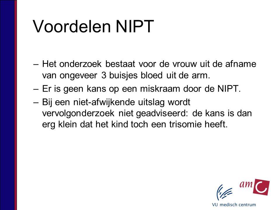 Voordelen NIPT –Het onderzoek bestaat voor de vrouw uit de afname van ongeveer 3 buisjes bloed uit de arm.