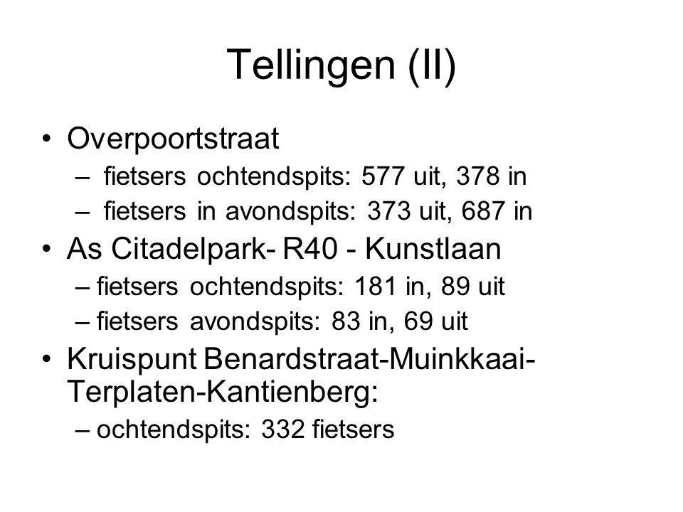 Tellingen (II) Overpoortstraat – fietsers ochtendspits: 577 uit, 378 in – fietsers in avondspits: 373 uit, 687 in As Citadelpark- R40 - Kunstlaan –fie